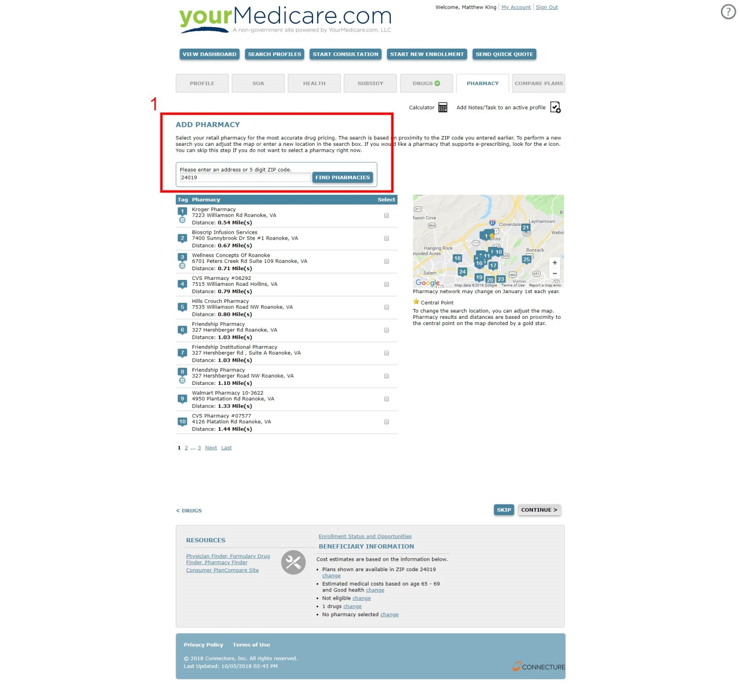 Client Pharmacy Finder For Medicare Advantage and PDP Sales